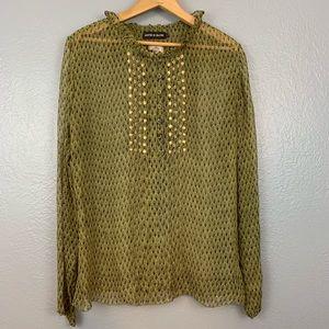 Antik Batik Silk Peacock Peasant Sheer Blouse Top